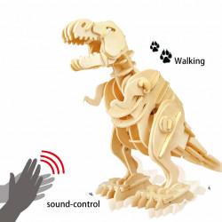 puzzle 3d din lemn dinozaur t-rex controlat prin sunet