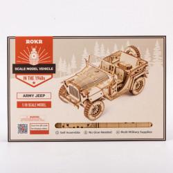 puzzle 3d din lemn masina militara in cutie