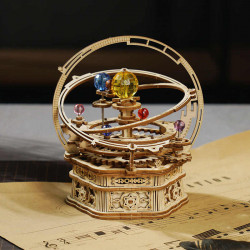 Puzzle 3D lemn Cutie muzicala Sistemul solar stary night si partitura