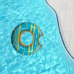 Colac gonflabil gogoasa glazurata bleu in piscina