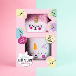 Set cana si sosete pufoase Kittycorn in cutie