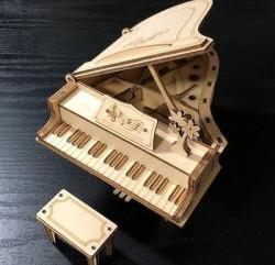Puzzle 3D din lemn Pian deschis de sus