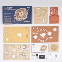 Puzzle 3D lemn Ceas cu calendar Zodiac continut cutie