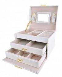 Cutie bijuterii alba cu doua sertare si cheita