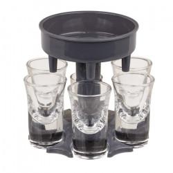 Dispenser pentru shoturi cu 6 pahare din sticla