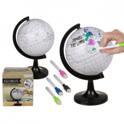 Glob pamantesc de colorat cu 4 markere si cutia