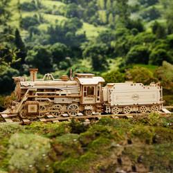 Puzzle 3D lemn Locomotiva cu aburi pe sina