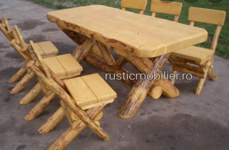 Poze Set rustic model cu scaune model X