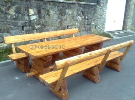 Poze Set lemn masiv cu bancute