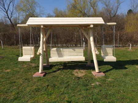 Poze Balansoar din lemn masiv rotund cu 2 leagane copil