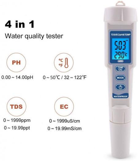 Poze OW-3508 Multimetru 4in1 TDS/PH/TEMP/EC-meter pentru lichide, masoara nivelul de impuritati din lichide