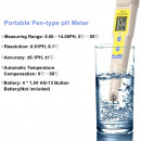 OW-035 Tester pH profesional, pentru lichide, indicator temperatura, cu baterii