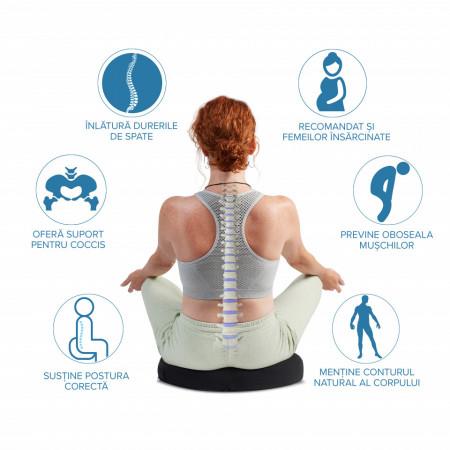 Perna Ortopedica Suport Coccis pentru scaun de birou sau masina Suporto, spuma cu memorie, amelioreaza durerile si imbunatateste postura