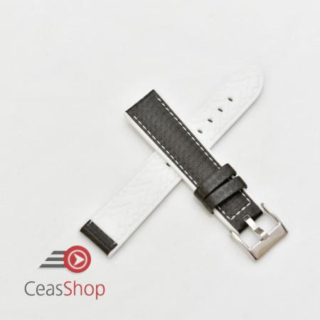 Curea hibrid silicon si piele fibra carbon neagra cu alb 22mm - 4005822