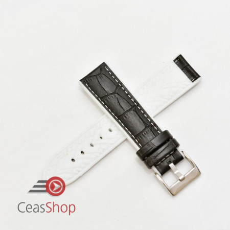 Curea hibrid silicon si piele model crocodil neagra cu alb 22mm - 4205822
