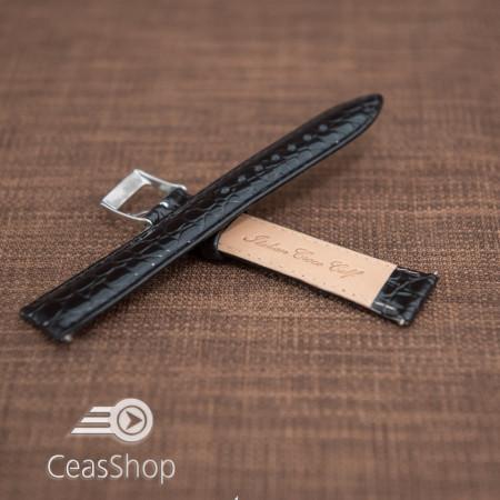 Curea model crocodil captusita neagră finisaj lucios 18mm - 46352