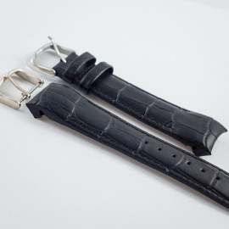 Curea piele capat curbat neagra 22mm - 38235