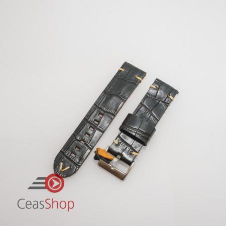 Curea piele neagră model crocodil vintage QR 24mm - 4030124