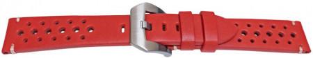 Curea piele perforata roșie GP Racing 22mm - 57087