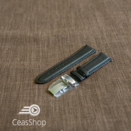 Curea piele vitel captusita deployant simplu neagra 18 mm - 42865
