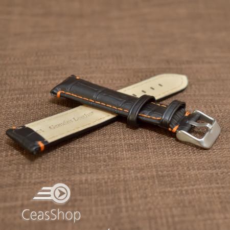 Curea piele vitel model crocodil cusaturi portocalii 20mm- 38080