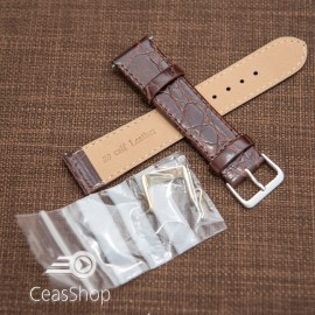 Curea piele vitel plata model crocodil Elegance maro 20mm - 34478