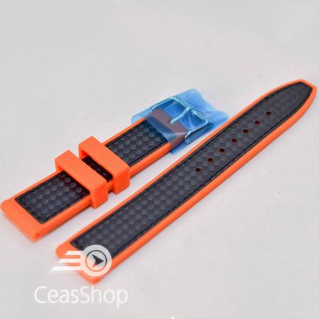 Curea silicon sport fibra carbon portocalie cu negru 24mm - 38125