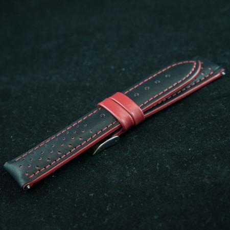Curea sport doua tonuri neagra cu rosu - antialergica 18mm