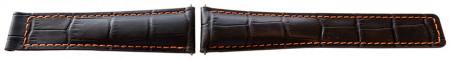 Curea tip Tag Heuer neagra cusătură portocalie 22mm - 52534