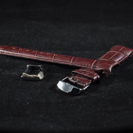 Curea piele capat curbat maro inchis 18mm - 38236