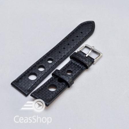 Curea piele GRAND PRIX fibra carbon neagra CN 20mm - 38218