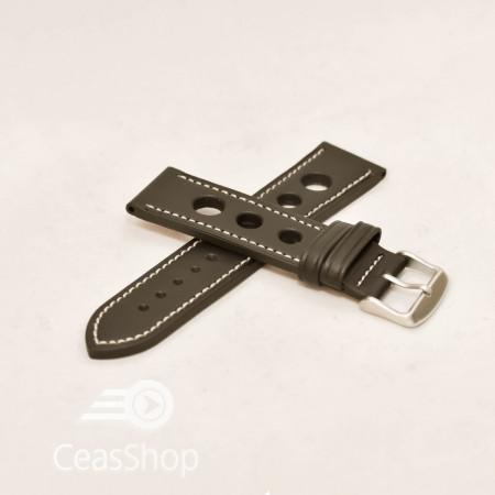 Curea piele GRAND PRIX neagra cusaturi albe 22mm - 36998