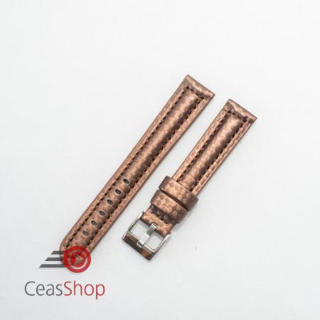 Curea piele tip fibra carbon maro, cusătură maro, căptușită 22mm - 374222