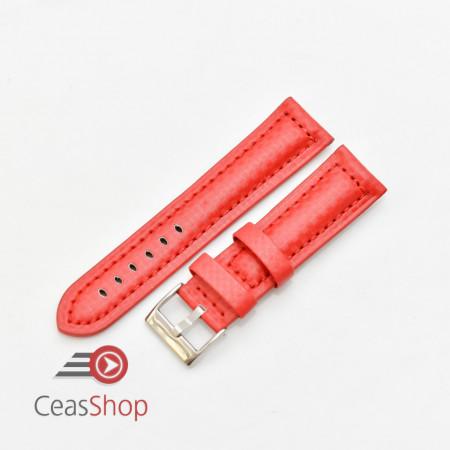 Curea piele tip fibra carbon roșie, căptușită 18mm - 374186