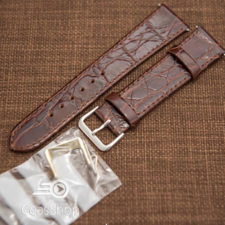 Curea piele vitel plata model crocodil Elegance maro 18mm - 34476
