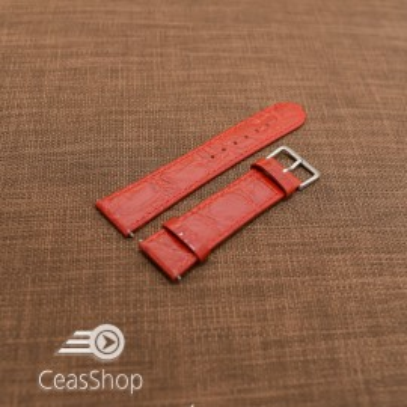 Curea piele vitel plata model crocodil Elegance rosie 12mm - 34490