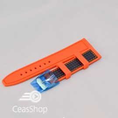 Curea silicon sport fibra carbon portocalie cu negru 20mm - 38120