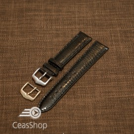 Curea sopârlă captusita cu finisaj lacuit, tip Omega, neagra 18mm-31176