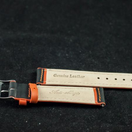 Curea sport doua tonuri neagra cu portocaliu, antialergica 20mm