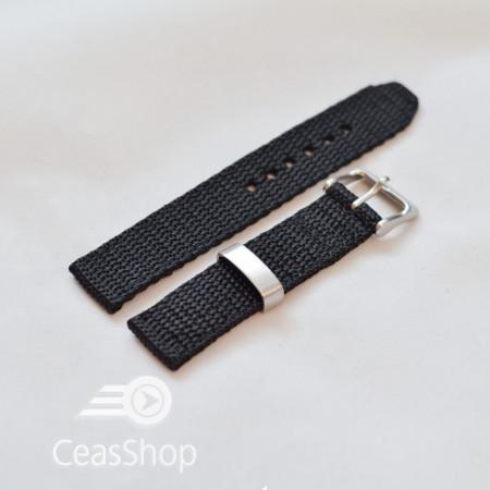 Curea din tesatura de nylon neagra 18mm - 34086
