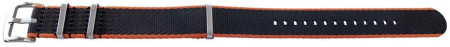 Curea NATO negră cu margine portocalie 20mm - 54079