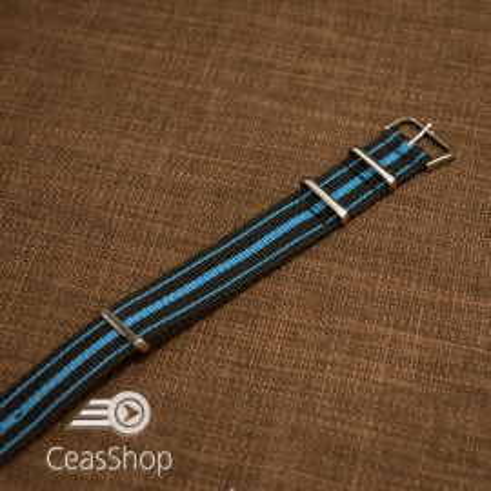 Curea NATO negru cu albastru 18mm - 37033
