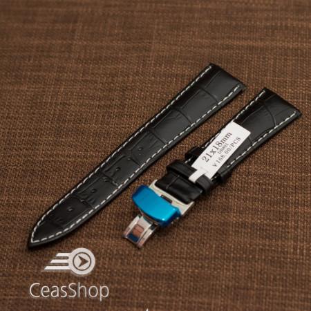 Curea piele deployant neagra cusatura alba 21 mm