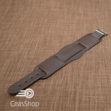 Curea piele tip militar 20mm maro catarama aurie - 33994