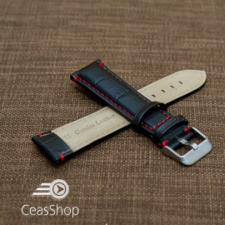 Curea piele vitel model crocodil cusaturi rosii 22mm- 38078