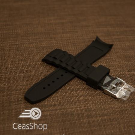 Curea silicon neagră capat curbat 22mm - 43397