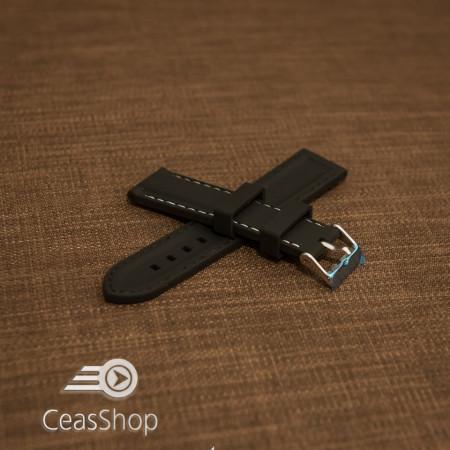 Curea silicon neagră cusături albe 18mm - 42307