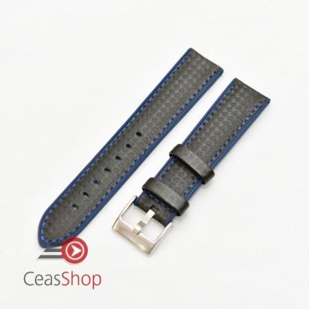 Curea hibrid silicon si piele fibra carbon neagra cu albastru 20mm - 4005220