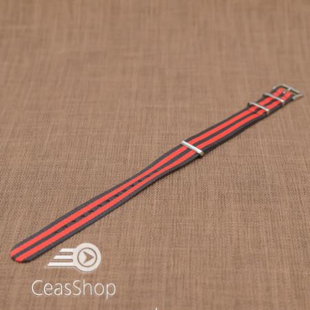 Curea NATO rosu/negru 18mm - 36525