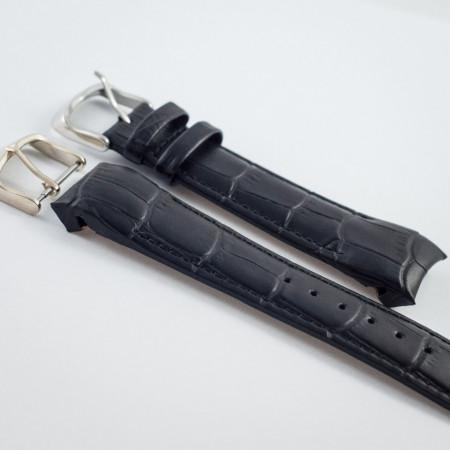 Curea piele capat curbat neagra 18mm - 38232